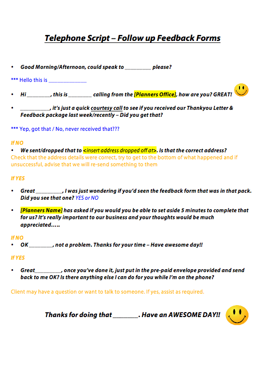 Outbound Call Follow Up Feedback Forms Script